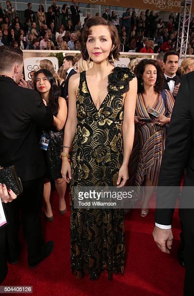 Actress Maggie Gyllenhaal attends the 73rd Annual Golden Globe Awards at The Beverly Hilton Hotel on January 10 2016 in Beverly Hills California