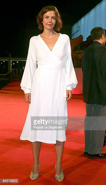 Actress Maggie Gyllenhaal attends the premiere for the incompetition film Brokeback Mountain at the Palazzo del Cinema on the third day of the 62nd...
