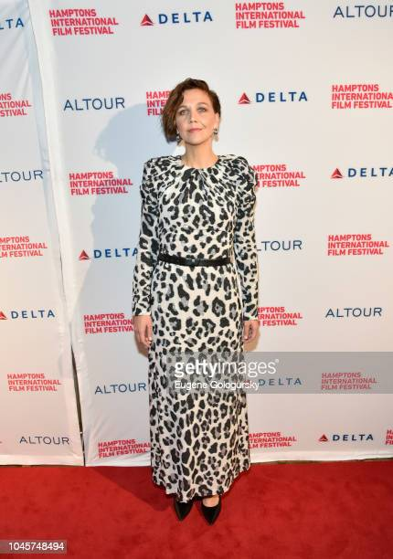 Actress Maggie Gyllenhaal attends the Red Carpet for The Kindergarten Teacher at Guild Hall on October 4 2018 in East Hampton New York