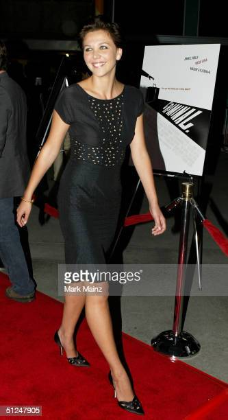 """Actress Maggie Gyllenhaal attends the Warner Independent Pictures Premiere of """"Criminal"""" at the Arclight Theatre August 30, 2004 in Los Angeles,..."""