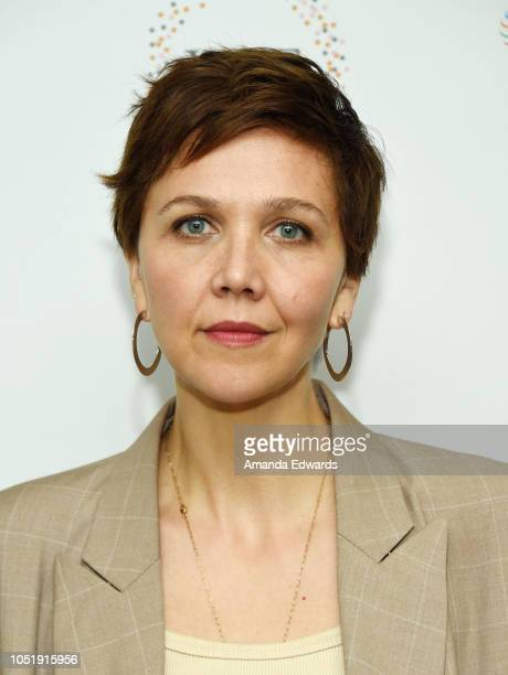 Actress Maggie Gyllenhaal attends the Women In Entertainment's 4th Annual Summit at the Skirball Cultural Center on October 11 2018 in Los Angeles...