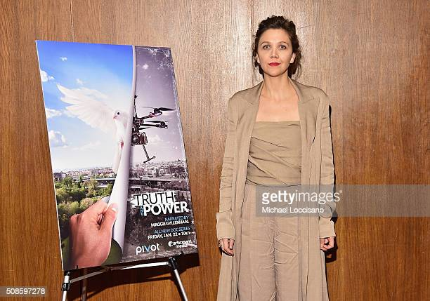 Actress Maggie Gyllenhaal hosts a screening and panel discussion for Brian Knappenberger's new series 'Truth and Power' on Pivot on Thursday...