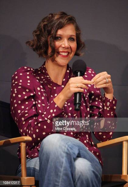 Actress Maggie Gyllenhaal speaks at the Apple Store Soho on August 16 2010 in New York City
