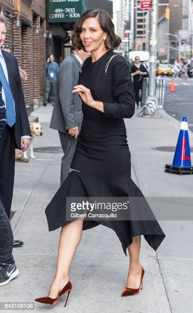 Actress Maggie Gyllenhaal visits the 'The Late Show With Stephen Colbert' at the Ed Sullivan Theater on September 5 2017 in New York City