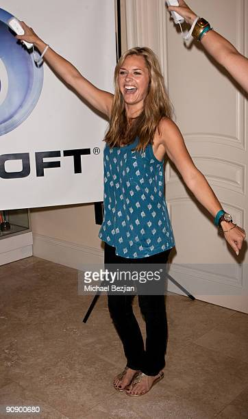 Actress Maggie Lawson plays Just Dance by Ubisoft at the Silver Spoon Emmy Suite at Maloof Estate on September 17 2009 in Beverly Hills California