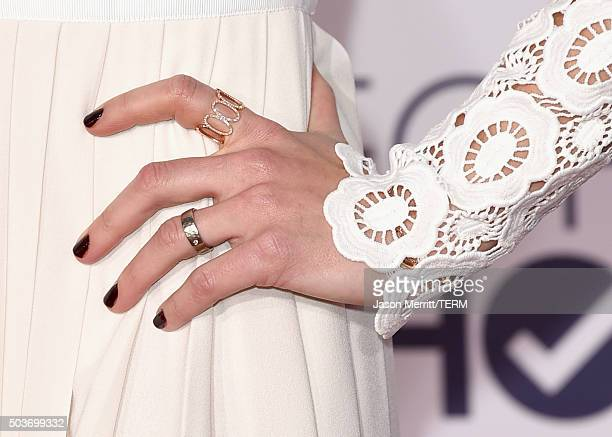 Actress Maggie Lawson ring detail attends the People's Choice Awards 2016 at Microsoft Theater on January 6 2016 in Los Angeles California