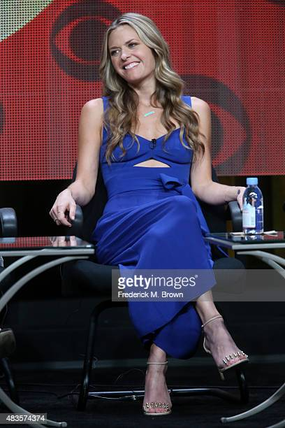 Actress Maggie Lawson speaks onstage during the 'Angel from Hell' panel discussion at the CBS portion of the 2015 Summer TCA Tour at The Beverly...