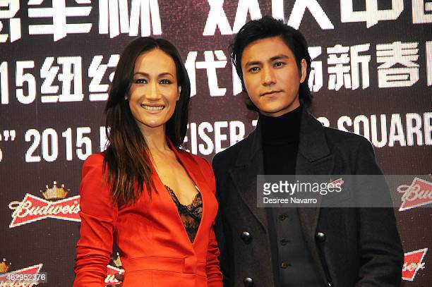 Actress Maggie Q and actor Chen Kun attend Maggie Q Toasts The Chinese New Year at Times Square on February 7 2015 in New York City