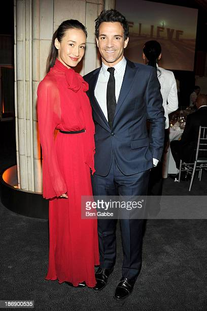 Actress Maggie Q and TV personality George Kotsiopoulos attend Kageno Harambee 'Believe' Gala at Guastavino's on November 4 2013 in New York City