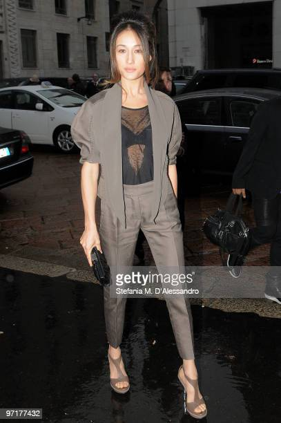 Actress Maggie Q arrives at the Salvatore Ferragamo Milan Fashion Week Autumn/Winter 2010 show on February 28 2010 in Milan Italy