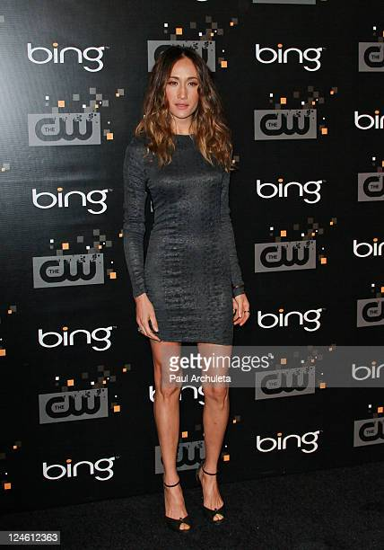 Actress Maggie Q. Arrives at the The CW premiere party at Warner Bros. Studios on September 10, 2011 in Burbank, California.