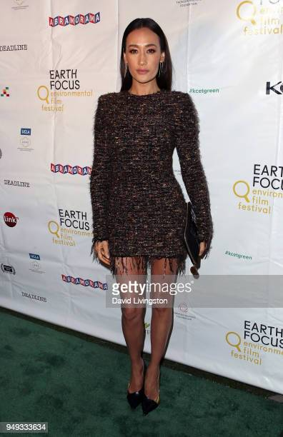 Actress Maggie Q attends the opening night of KCET Link TV's EARTH FOCUS Environmental Film Festival screening of Love Bananas An Elephant Story at...
