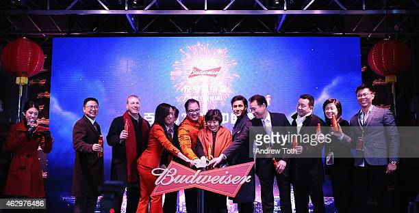 Actress Maggie Q Global Chief Marketing Officer at AnheuserBusch Miguel Patricio Ambassador Zhang Qiyue Chinese Consul General in New York and actor...