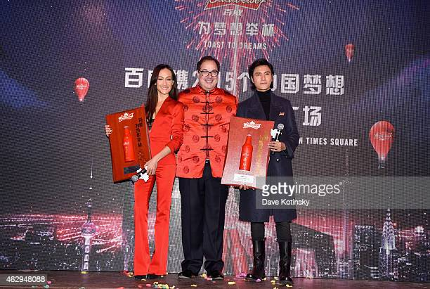 Actress Maggie Q Miguel Patricio Global Chief Marketing Officer for AnheuserBusch and actor Chen Kun kickoff Chinese New Year celebrations by...