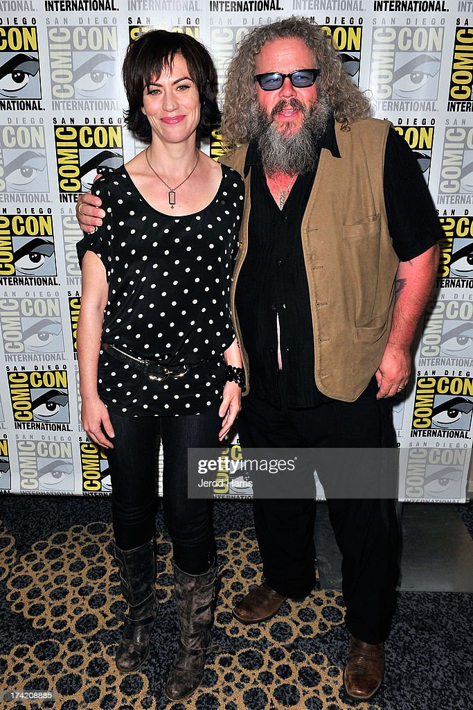 Actress Maggie Siff and actor Mark Boone Junior attend the 'Sons Of Anarchy' press line during Comic-Con International 2013 at San Diego Convention Center on July 21, 2013 in San Diego, California.