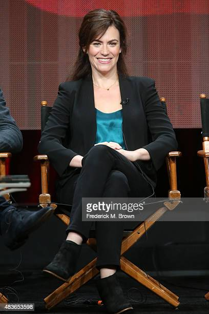 Actress Maggie Siff speaks onstage during the 'Billions' panel discussion at the Showtime portion of the 2015 Summer TCA Tour at The Beverly Hilton...