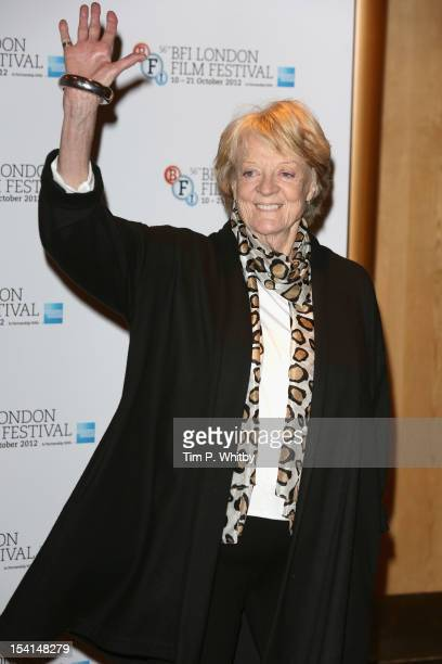 Actress Maggie Smith attends the Quartet photocall during the BFI London Film Festival at the Empire Leicester Square on October 15 2012 in London...