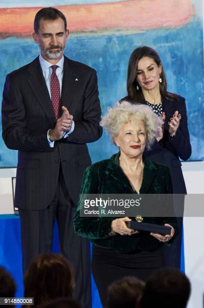 Actress Magui Mira receives the Gold Medal of Merit in Fine Arts 2016 from King Felipe VI of Spain and Queen Letizia of Spain at the Pompidou Center...