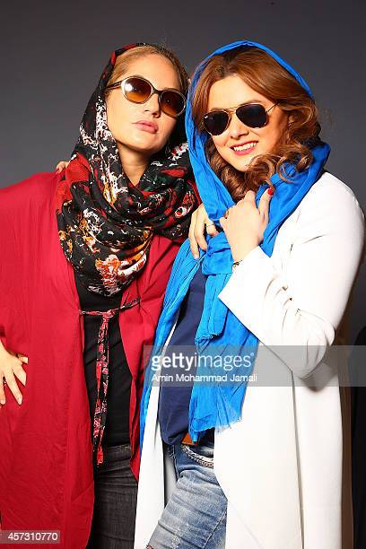 Actress Mahnaz Afshar and Media Manager Ayda Mesbahi look on during 'Sperm Whale' Movie on October 16 2014 in Tehran Iran