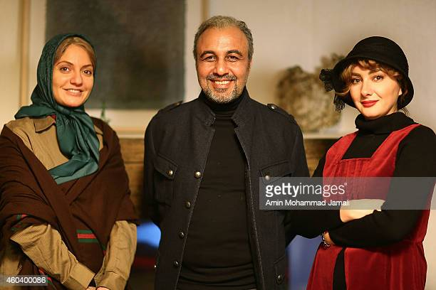 Actress Mahnaz Afshar and Reza Ataran and Actress Honey Tavasoli looks on during the Backstage 'Sperm Whale' Movie on December 12 2014 in Tehran Iran