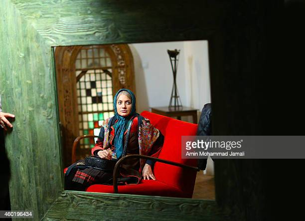 Actress Mahnaz Afsharon the set of 'Sperm Whale' Movie on December 9 2014 in Tehran Iran