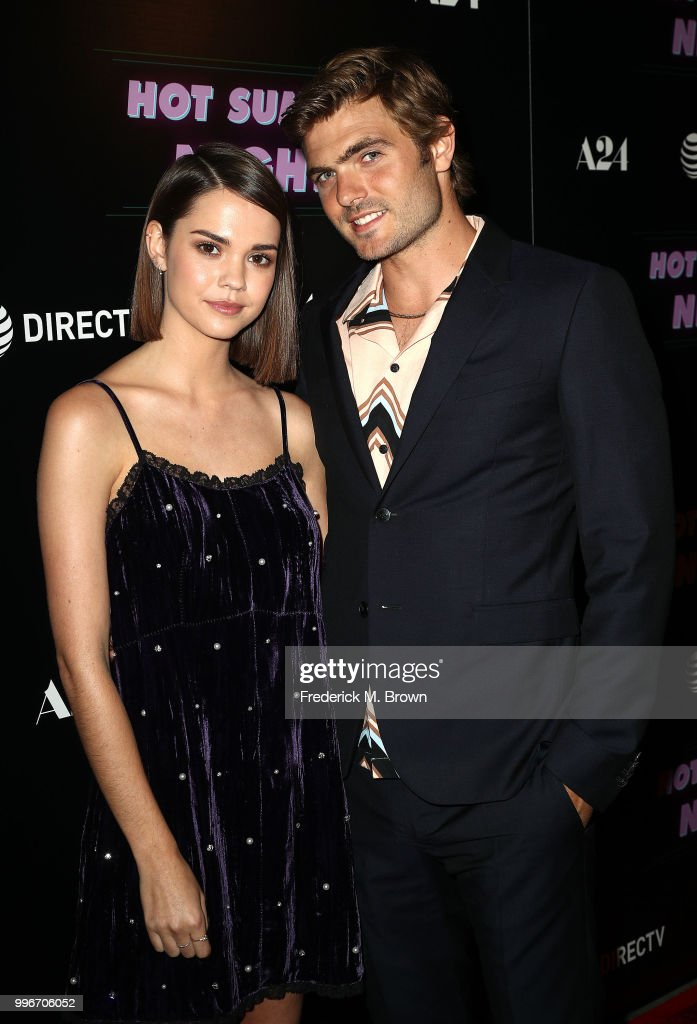 Actress Maia Mitchell,(L) and actor Alex Roe attend the Screening of A-24's 'Hot Summer Nights' at the Pacific Theatres at The Grove on July 11, 2018 in Los Angeles, California.