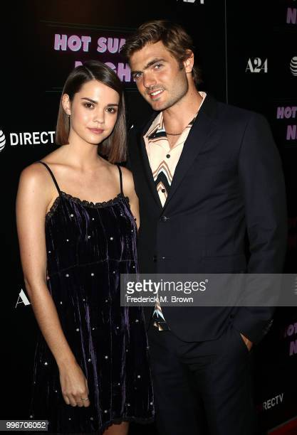Actress Maia Mitchell and actor Alex Roe attend the Screening of A24's 'Hot Summer Nights' at the Pacific Theatres at The Grove on July 11 2018 in...
