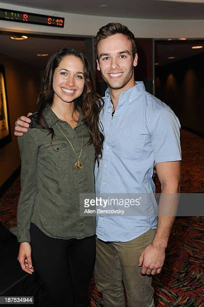 Actress Maiara Walsh and actor Ross Wyngaarden attend 'The Starving Games' Hunger Games Spoof meet and greet at AMC Orange 30 on November 9 2013 in...