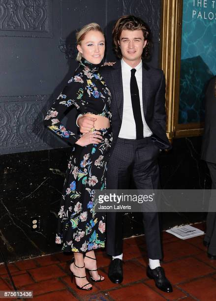 Actress Maika Monroe and actor Joe Keery attend the premiere of 'The Tribes of Palos Verdes' at The Theatre at Ace Hotel on November 17 2017 in Los...