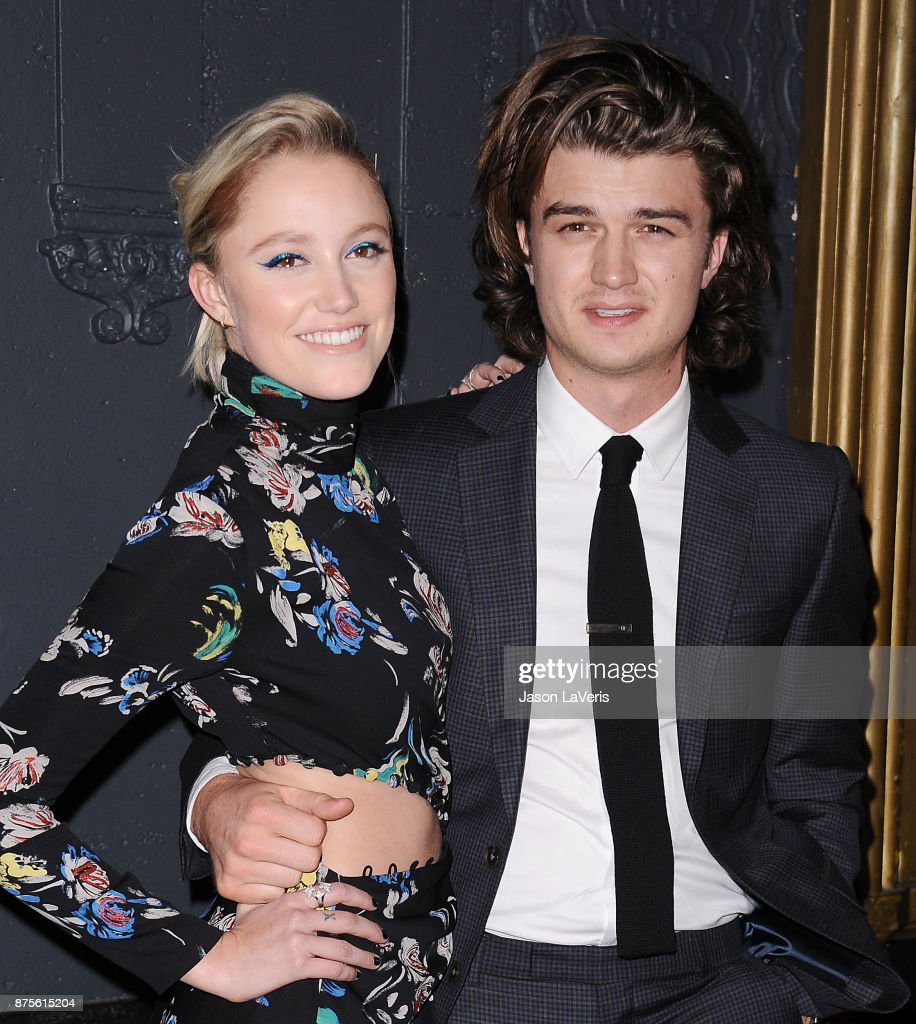 Actress Maika Monroe and actor Joe Keery attend the premiere of 'The Tribes of Palos Verdes' at The Theatre at Ace Hotel on November 17, 2017 in Los Angeles, California.