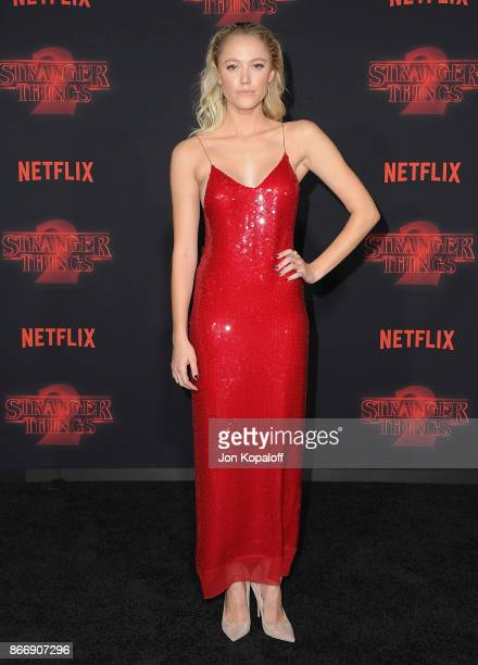 Actress Maika Monroe arrives at the premiere of Netflix's 'Stranger Things' Season 2 at Regency Bruin Theatre on October 26 2017 in Los Angeles...