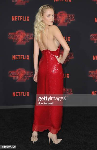 Actress Maika Monroe arrives at the premiere of Netflix's Stranger Things Season 2 at Regency Bruin Theatre on October 26 2017 in Los Angeles...