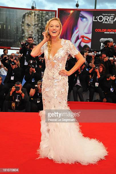 Actress Maika Monroe attends the 'At Any Price' premiere during the 69th Venice Film Festival at the Palazzo del Cinema on August 31 2012 in Venice...