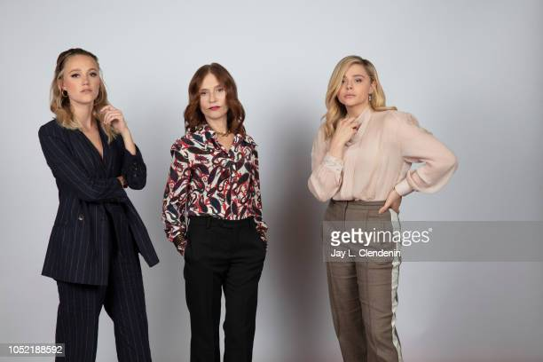 Actress Maika Monroe, Isabelle Huppert and Chloe Grace Moretz from 'Greta' are photographed for Los Angeles Times on September 7, 2018 in Toronto,...
