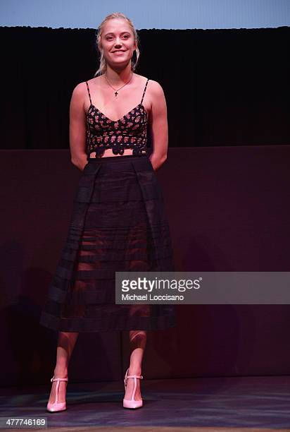 Actress Maika Monroe takes part in a QA following The Guest premiere at the 2014 SXSW Music Film Interactive Festival at the Stateside Theater on...