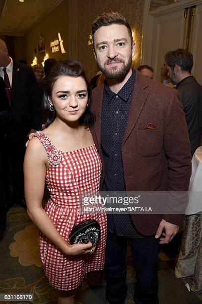Actress Maisie Williams and actor/singer Justin Timberlake attend The BAFTA Tea Party at Four Seasons Hotel Los Angeles at Beverly Hills on January 7...