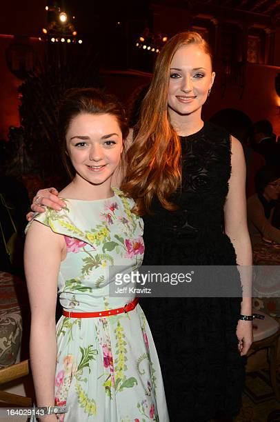 Actress Maisie Williams and actress Sophie Turner arrive to HBO's Game Of Thrones Los Angeles Premiere at TCL Chinese Theatre on March 18 2013 in...