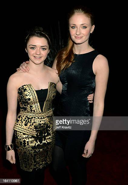 Actress Maisie Williams and actress Sophie Turner attend the Academy of Television Arts Sciences an evening with HBO's 'Game Of Thrones' at TCL...