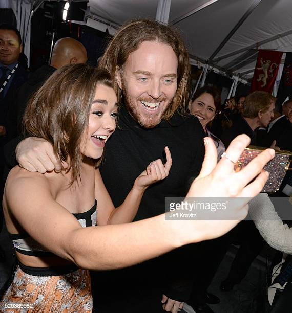 Actress Maisie Williams and comedian Tim Minchin attend the premiere for the sixth season of HBO's 'Game Of Thrones' at TCL Chinese Theatre on April...