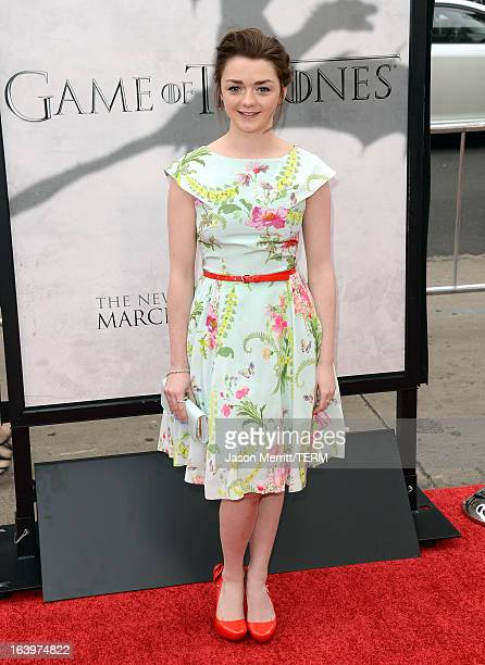 Actress Maisie Williams arrives at the premiere of HBO's 'Game Of Thrones' Season 3 at TCL Chinese Theatre on March 18 2013 in Hollywood California