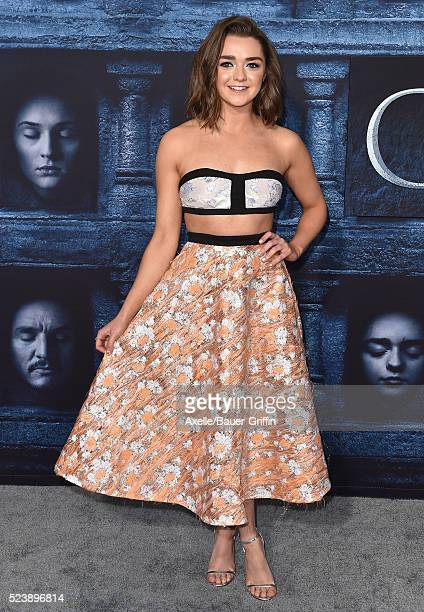 Actress Maisie Williams arrives at the premiere of HBO's 'Game Of Thrones' Season 6 at TCL Chinese Theatre on April 10, 2016 in Hollywood, California.