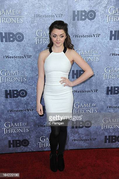 Actress Maisie Williams arrives at the San Francisco Premiere For HBO's 'Game Of Thrones' Season 3 at Palace Of Fine Arts Theater on March 20 2013 in...
