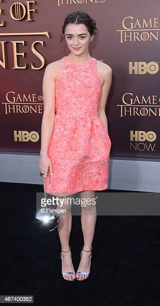 Actress Maisie Williams attends HBO's 'Game of Thrones' Season 5 Premiere at the San Francisco War Memorial Opera House on March 23 2015 in San...