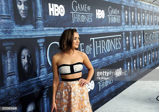 Actress Maisie Williams attends the premiere for the sixth season of HBO's 'Game Of Thrones' at TCL Chinese Theatre on April 10 2016 in Hollywood City