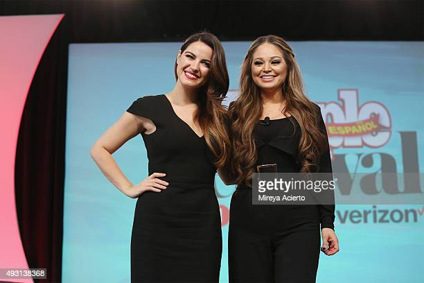Actress Maite Perroni and journalist Isis Sauceda speak during the 4th Annual People en Espanol Festival at Jacob Javitz Center on October 17 2015 in...