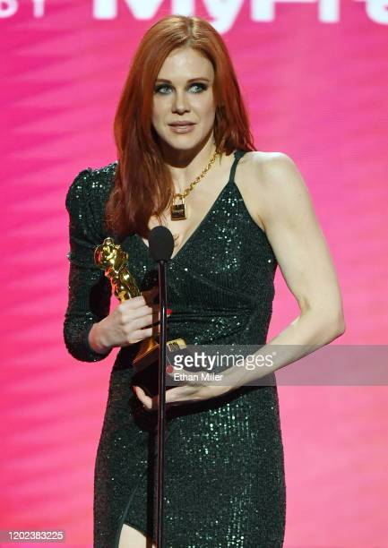 Actress Maitland Ward accepts the award for Best Supporting Actress during the 2020 Adult Video News Awards at The Joint inside the Hard Rock Hotel...