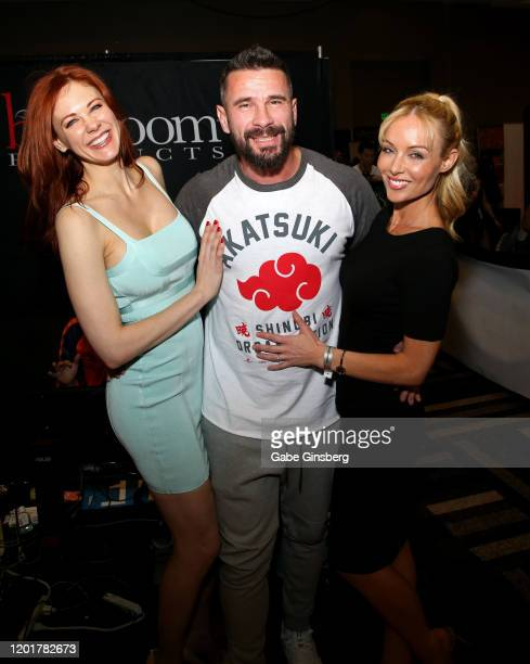 Actress Maitland Ward adult film actor/director Manuel Ferrara and adult film director/actress Kayden Kross pose at the Rock Candy/bedroom Products...