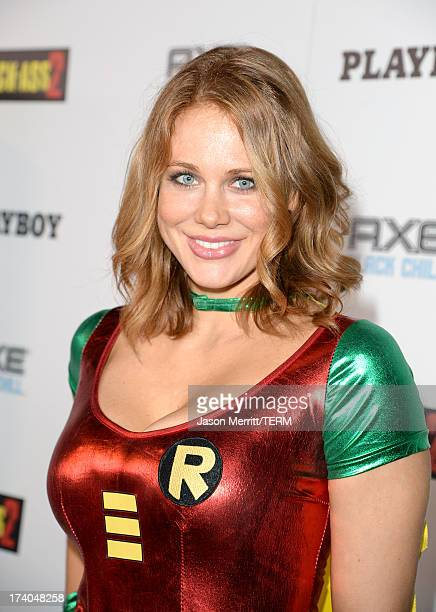 Actress Maitland Ward arrives at the Playboy and Universal Pictures' 'KickAss 2' event at ComicCon sponsored by AXE Black Chill on July 19 2013 in...