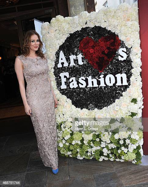 Actress Maitland Ward in Sue Wong attends the Art Hearts Fashion Opening Night with Sue Wong's Runway Fashion Show Mythos And Goddesses held at...