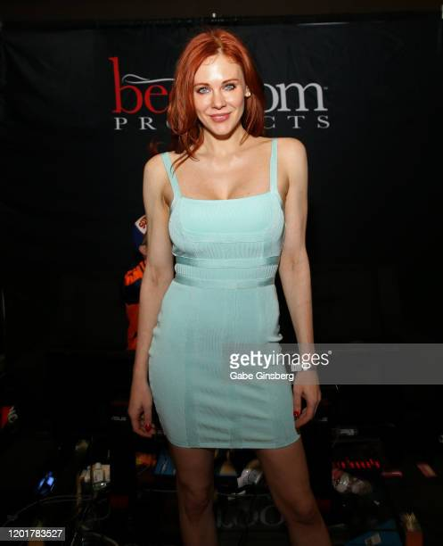Actress Maitland Ward poses at the Rock Candy/bedroom Products booth during the 2020 AVN Adult Expo at the Hard Rock Hotel Casino on January 24 2020...